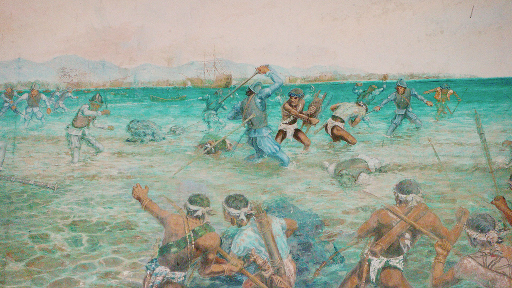 Battle of Mactan Part of an artwork in Lapu-Lapu shrine.