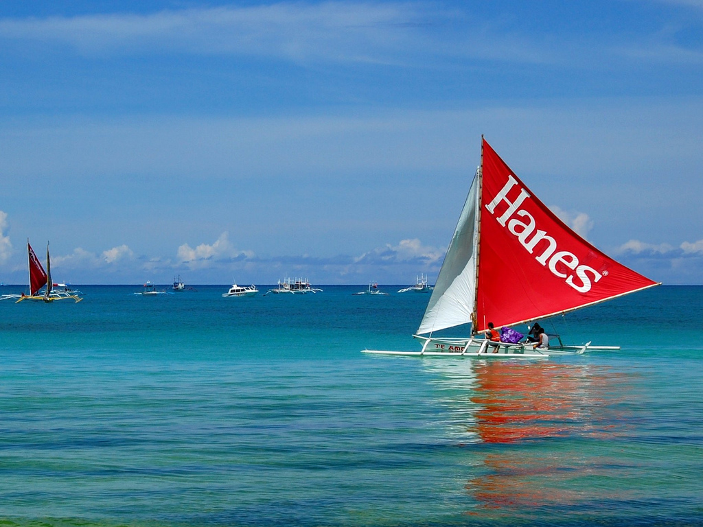 Colored sailboat in Boracay