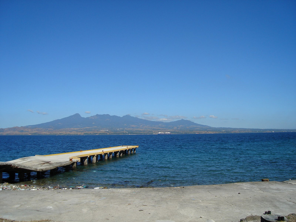 Site of McArthur's landing after the last major battle of the Philippine campaign, Corregidor Island, Manila Bay, Bataan Peninsula, opposite.