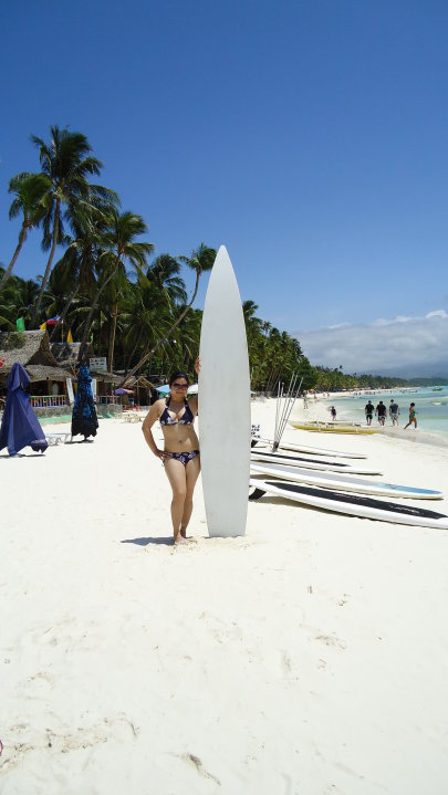 A lady surfer in Boracay
