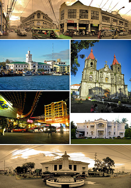 From top, left to right: Calle Real - Iloilo City's historic center, The Aduana/Customs House of Iloilo and Muelle Loney, Saint Anne Church of Molo District, Smallville Commercial Complex in Mandurriao District, Nelly Garden, and the Arroyo Fountain and Casa Real/Old Iloilo Provincial Capitol Image source: Bernardo Arellano III/Creative Commons